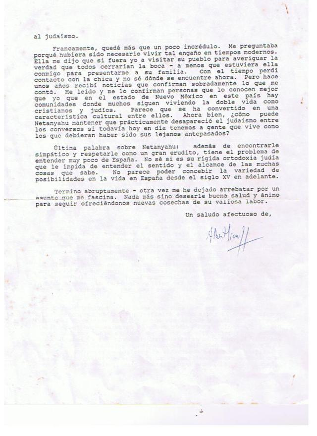 Segunda y última página de la hoja o folio que constituye la carta señalada del Prof. Sicroff al catedrático Domínguez Ortíz, ambos antirracistas (en sentido modernorevolucionario del término) y filojudíos.