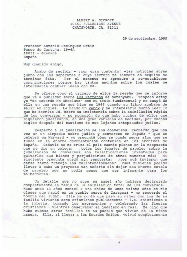 Primera página de la Carta de Sicroff a Domínguez Ortíz.
