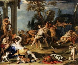 """[Sebastiano Ricci (Belluno, 1 de agosto de 1659 – Venecia, 15 de mayo de 1734) pintor italiano, también para los Estados Pontificios, donde pintó, por encargo de S.M. el Rey Luis XIV, la """"Coronación de Carlomagno. """"Fiesta campestre en honor de Pan"""" . ]"""