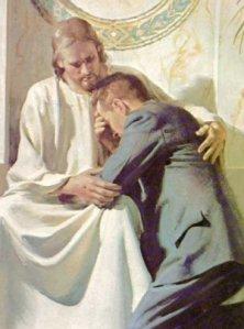 """""""Misericordia quiero y no sacrificios hipócritas, de pompa externa, pero vacíos de la Caridad que habeis de usar con el prójimo"""". FOTO : Cristo y su fiel, en posición """"imprudentísima"""", escandalosa, en estos tiempos extremos de """"la nueva evangelización"""". Si un Sacerdote hiciera eso con un jóven (p.ej. de menos de 21 años), la imágen que inserto sería, sin duda, PRUEBA DE CARGO DE PEDERASTIA,  para la mente y la estrategia retorcida y sucia de los """"puros"""" canallas traidores, operantes en el """"clero"""", merced a Satanás,"""