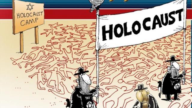 Viñeta de Pensamiento Palestino Semita, publicada en Irán, bajo protección del Régimen, en http://holocartoons.com