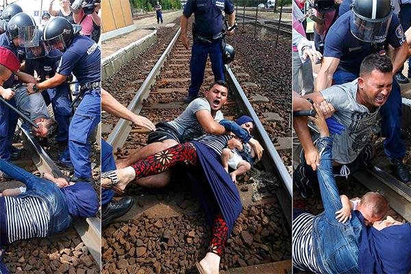 Uno extorsiona a la policía arrojando a las vías a su mujer e hijo, y echándose encima. En la prensa conspirativa se acusa a los policías de maltrato contra el chantagista.