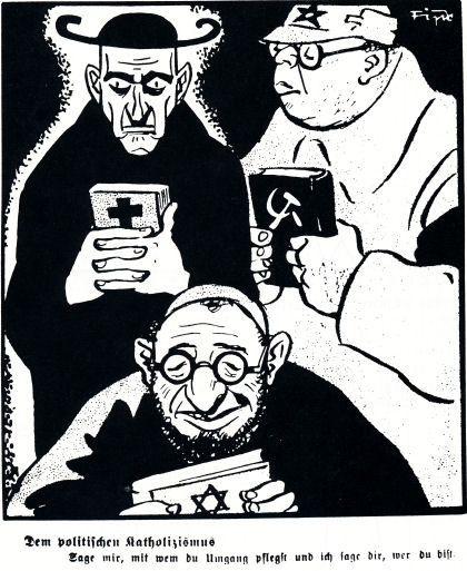 """Entonces ese cartel no respondía a la realidad del Clero Católico, de rito tridentino, de latín y Escolástica, de tomismo y patriotismo. Hoy, en cambio, sí, a la mayoría clerical; salvo en una cosa : la casi totalidad de los modernizados no visten hábitos clericales. El ridiculizado con una corona de santo puede representar a los santurrones, los nocivísimos """"buenistas"""" del filantropismo judeomasón, asimilado por la inmensa mayoría de los clérigos, casi todos democratistas y globalistas."""