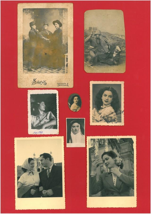 De arriba a abajo y de derecha a izquierda: 1ª) Fotografía de Francisco González Pinto (figura de la derecha), posando con dos compaisanos suyos, ataviados como en una de las escenas de una obra teatral que representaron en un teatro; 2ª) El mismo Francisco (a derecha), en otra escena teatral; 3ª) Su hija mayor Srª.Dñª. Armonía ( o Josefina) González y Valdayo, nacida en Mayo de 1930; en la foto tenía 18 años; 4ª) La mísma, a la edad de 15 años [1948]; 5ª) Dñª. Armonía, con 20 años [1950], vestida de monja, para una representación teatral; 6ª) Dñª. Josefina, en 1950; 7ª) La mísma, con su entonces novio Sr.D. Ricardo de Perea y López, en la hispalense plaza de España, a primeros de Abril de 1953 [ la foto está dedicada por la jóven a quien sería más tarde su esposo, y lleva fecha del 5 de Abril de 1953; la hizo D. Manuel Pliego, amigo de ambos]; 8ª) La Diva, en los mismos lugar y momento que los de la fotografía anterior.