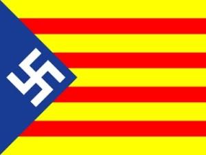 """Imágen que aparece en el blog demoliberal http://elfiscaldeldistrito.blogspot.com.es/2010_06_01_archive.html ., bajo el título """" NACE EL IMPERIO NACIONALSOCIALISTA CATALAN. MUERE ESPAÑA"""". Esa indigna propaganda de grosera manipulación de símbolos e injusto agravio a la Historia, la verdad, el Nacionalsocialismo y a los ns que dieron su vida contra la barbarie revolucionaria a la que pertenece la clase política separatista catalana ¡Y LOS PARTIDOS DE OPOSICION A ELLA: PP, CDs y PSC! es una muestra más de la maldad e impunidad de una mentalidad y política que expresamente se proclaman """"de derechas""""(véase el blog). El único que no se suma a esa barbarie, de entre los pseudodemocratistas españoles, es """"Vox""""."""